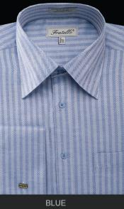 Blue Stripe Best Cheap Priced Designer Sale Mens French Cuff Herringbone Tweed Dress Shirt