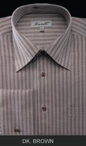 Dark Brown Stripe One point Collar Best Cheap Priced Mens French