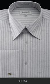 Gray Herringbone Stripe Mens French Cuff Best Cheap Priced Designer Sale Dress Shirt