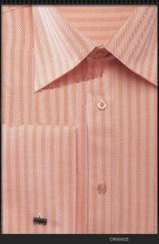 Orange Stripe Mens French CuffHerringbone Tweed Best Cheap Priced Designer Sale Mens Dress Shirt