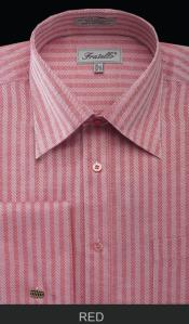 Best Cheap Priced Designer Sale Mens French Cuff Dress Shirt - Herringbone Tweed Stripe Red