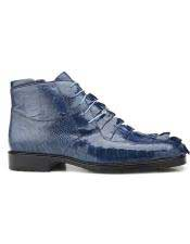 Genuine Hornback and Genuine Ostrich Blue Jean Lace Up Style Belvedere