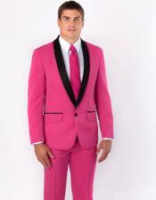 Mens Shawl Black Lapel Groom Tuxedos Hot Pink Suits Wedding Dinner Party Wear (Jacket+Pants+Tie)