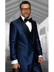 Confidence Mens Indigo Shawl Lapel 1 Button Modern Fit Vested Tuxedo
