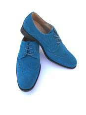 Cap Toe Lace Up Style Indigo ~ Turquoise ~ Teal Dress Shoes Wingtip