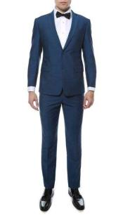 Mens Indigo ~ Bright Blue Two Button Classic  Slim Fit Suit