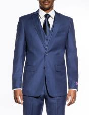 Mens Indigo ~ Bright Blue 3 piece slim fit wedding prom vested