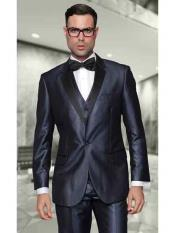 ~ Bright Blue Mens 100% Wool Two Toned Vested 2 Buttons Suit With Black Lapel Italian Tuxedo