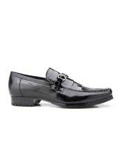 Plato Mens Black Genuine World Best Alligator ~ Gator Skin and Italian Calf Slip-On Belvedere Loafer
