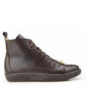Mens Brown Genuine Ostrich and Italian Calf Lace Up Belvedere Shoe