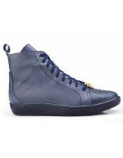 Mens Navy Blue Genuine Ostrich and Italian Calf Lace Up Sneaker Belvedere Shoe