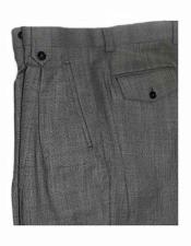 Italian Mens Grey Birdseye Pattern Wide Leg Wool Dress Pant