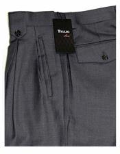 Italian Mens Wide Leg 100% Wool Grey Double Pleated Solid Pattern