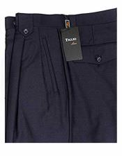 Navy Blue Mens Italian Style 100% Wool Double Pleats Wide Leg Dress Pant