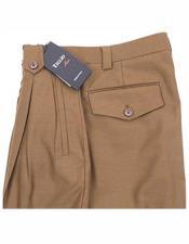 Italian Mens 100% Wool Solid Tobacco Wide Leg Dress Pant