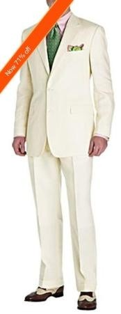 Mens Suit Ivory 2-Button Style Perfect For Wedding + Free Tie