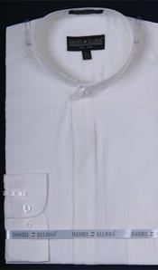 Banded Collarless Ivory Mens Dress Shirt