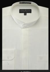 Oriental Mao Chines Style No Collar Basic Banded Collar Mandarin Collarless Preacher Round Style Ivory Mens Dress Shirt