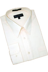 Cream Ivory Cotton Blend Dress Shirt With Convertible Cuffs
