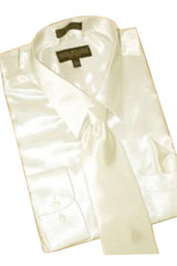 Cheap Priced Sale Satin Cream Ivory Dress Shirt Combinations Set Tie