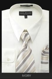 PREMIUM TIE - Ivory Denim Mens Dress Shirt