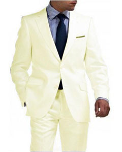Mens Linen Suit - Light Weight Ivory ~ Off White 2 Button