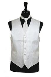 A I S L E Y tone on tone Dress Tuxedo Wedding Vest Tie Set Ivory