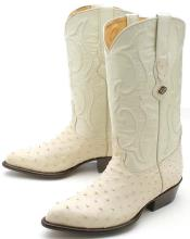 Full Quill Ostrich Cream ~ Ivory ~ Off White Los Altos Mens Cowboy Boots Western Rider