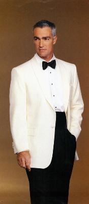 Lapel 100% Super 100s Wool Ivory Dinner Jacket