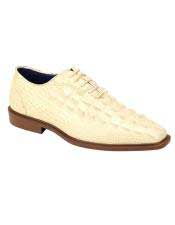 Mens Plain Toe Oxford Gator Pattern Ivory ~ Cream ~ Off White Lace up Dress Shoes