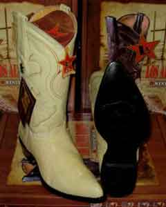 Altos Cream ~ Ivory ~ Off White Genuine Ostrich Leg Western Cowboy Boot