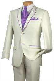 Tuxedo Lavender Trim Microfiber Two Button Notch 5-Piece Choice of Solid White or Ivory 