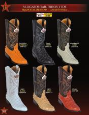 Los Altos Mens J-Toe World Best Alligator ~ Gator Skin Tail Print Cowboy Western Boots Diff Colors