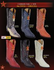 Los Altos Mens J Toe Genuine caiman ~ World Best Alligator ~ Gator Skin Tail Cowboy Western