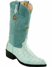 Genuine Caiman Tail J Toe Handmade Baby Blue Boots With Full