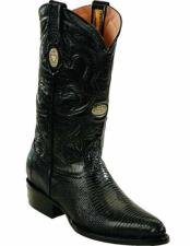 Leather Genuine Lizard Skin With J Toe Style Black Handcrafted Boots
