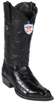 West J-Toe Black caiman ~ World Best Alligator ~ Gator Skin Tail Cowboy Boots