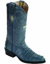 J Toe Style Genuine Caiman Tail Handmade Boots With Leather Lining