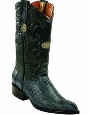 Blue Jean Genuine Ostrich Leg Skin J Toe Boots With Leather