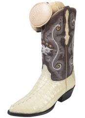 Handcrafted El General Caiman Tail J Toe Bone Leather Lining Boots