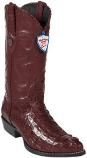 West J-Toe Burgundy ~ Maroon ~ Wine Color caiman ~ World Best Alligator ~ Gator Skin Tail