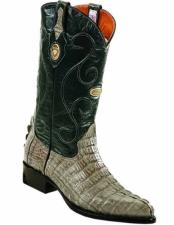 Genuine Caiman Tail Gray J Toe Full Leather Lining Handcrafted Boots