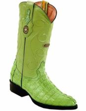 J Toe Genuine Caiman Tail Handmade Full Leather Lining Boots Pistachio