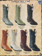 DiffColors/Sizes Gator Skin Tail Cowboy Western Boots ~ World Best Alligator J-Toe Genuine Caiman