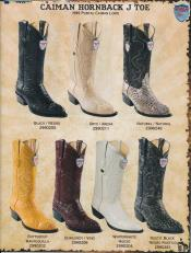 West J-Toe Genuine caiman ~ World Best Alligator ~ Gator Skin Hornback Cowboy Boots Diff Colors/Sizes Black/Natural/Oryx/Buttercup