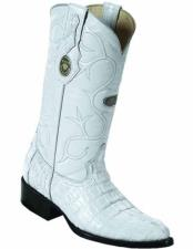 Handmade Genuine Caiman Tail Full Leather Lining White J Toe Boots
