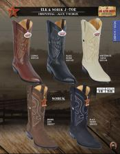 Los Altos J-Toe Genuine Elk/Nobuk Mens Western Cowboy Boot DiffColors/Sizes