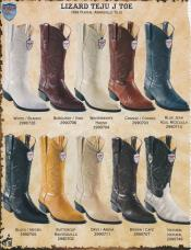 West J-Toe Genuine Lizard Teju Cowboy Western Boots DiffColors/Sizes Black/Blue Jean/Burgundy ~ Wine ~ Maroon/White