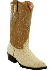 Genuine Quill Ostrich Skin Bone J Toe Style Handcrafted Leather Boots