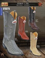 Los Altos J-Toe Genuine Ostrich Western Cowboy Boots Diff Colors/Sizes